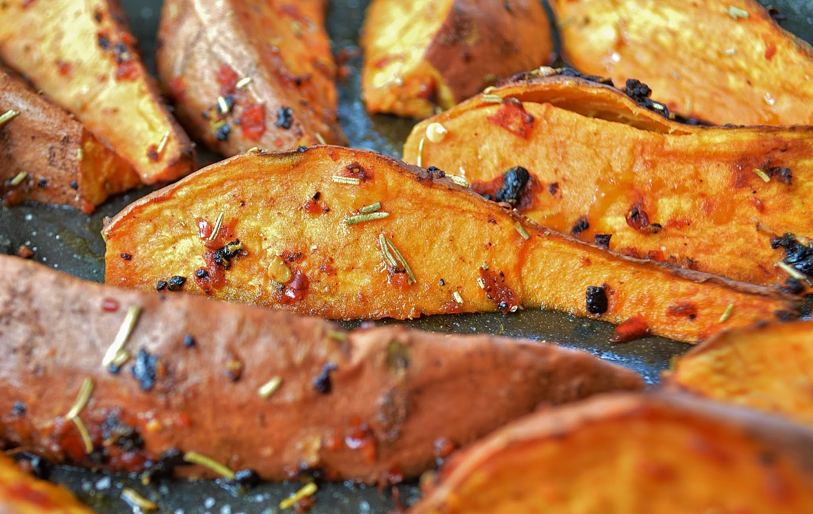 Roasted Sweet Potato Wedges with Black Garlic, Chilli & Rosemary