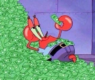 Polosan meme tuan krab 3 - Tuan krab tidur di kasur penuh uang