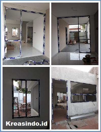 Kusen Aluminium dan Pintu Aluminium pemasangan di Komplek Pribadi DPR Joglo Jakarta Barat