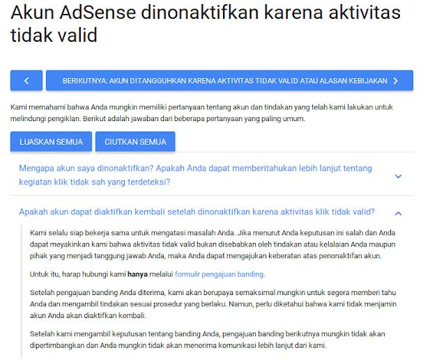akun adsense dinonaktifkan karena aktivitas tidak valid