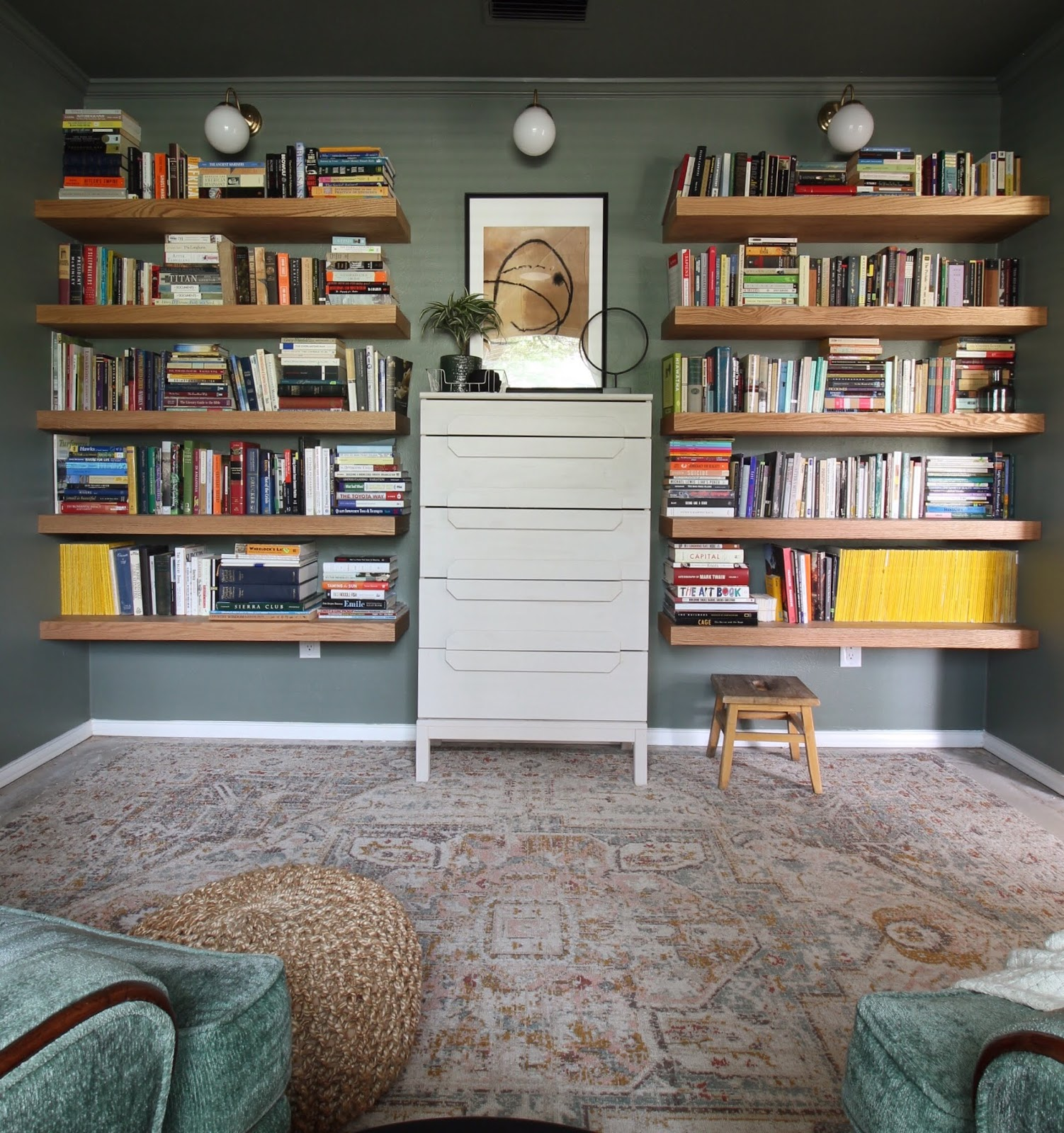 We've lived in our house a whole year!! Check out the tour and a round up of projects I've done. It's been great!   House Homemade Floating shelves library reading room