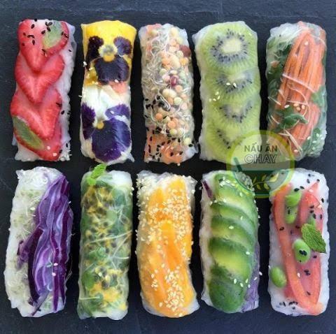 Những sáng tạo quyến rũ, đầy màu sắc của món nem cuốn chay
