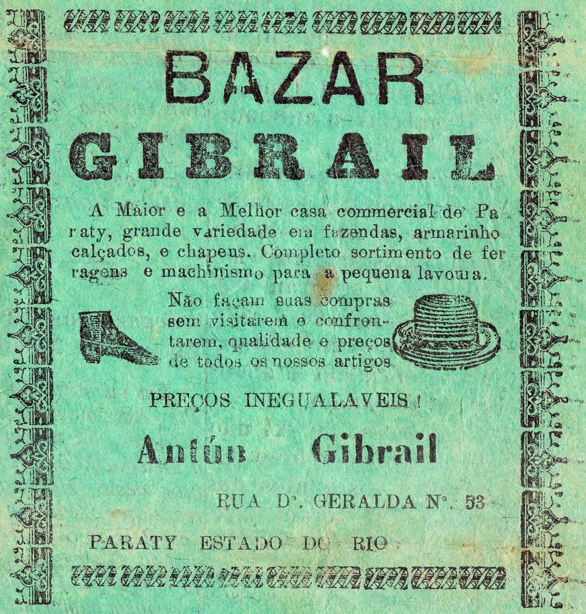 Propaganda antiga do Bazar Gibrail veiculada em 1932