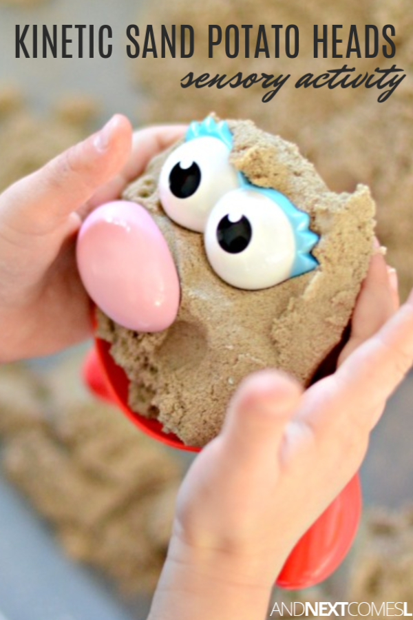 Toddler and preschool kinetic sand activity using Mr. Potato Head pieces