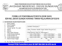 Formulir PPDB Format Word untuk SD SMP SMA SMK MA MTS dan MI