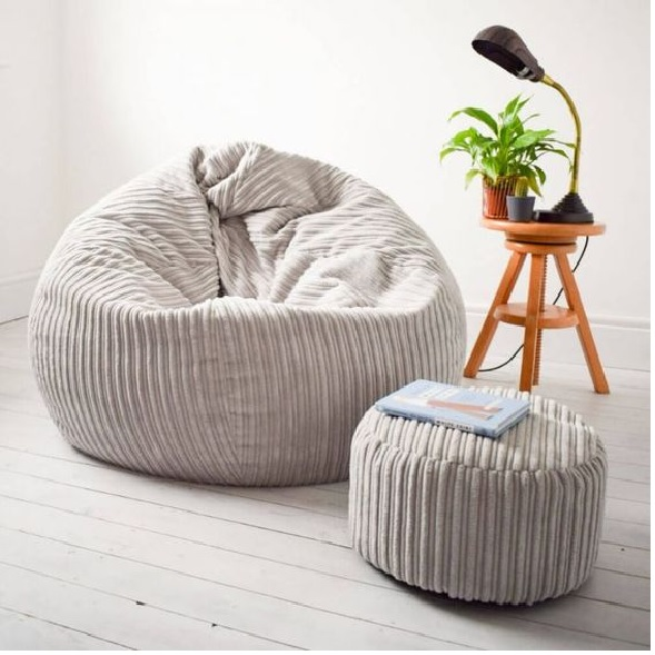 best light grey bean bag jumbo cord for living room, and family room