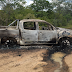 Hilux usada no assalto ao carro-forte é encontrada incendiada