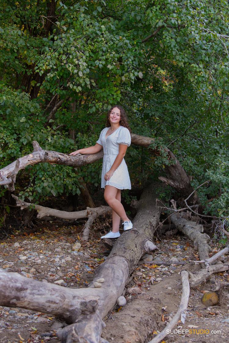 Pioneer High School Girls Senior Portrait in Nature Woods Forest by SudeepStudio.com Ann Arbor Senior Pictures Photographer