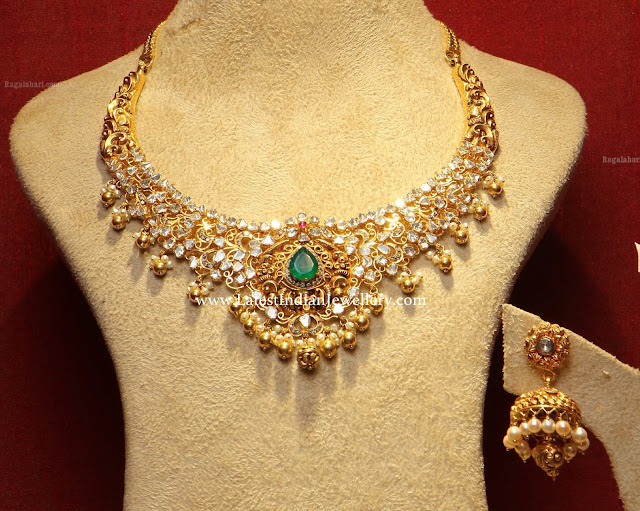 PMJ Polki Necklace Jhumkas