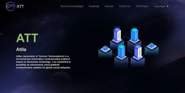 Screenshot Website Attila (ATT) Cryptocurrency