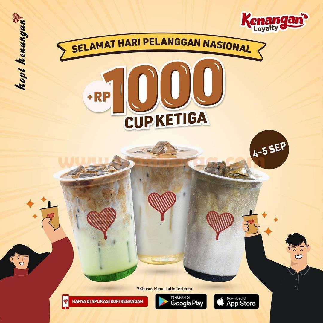 KOPI KENANGAN Promo Beli Cup Ketiga cuma Tambah +Rp. 1.000
