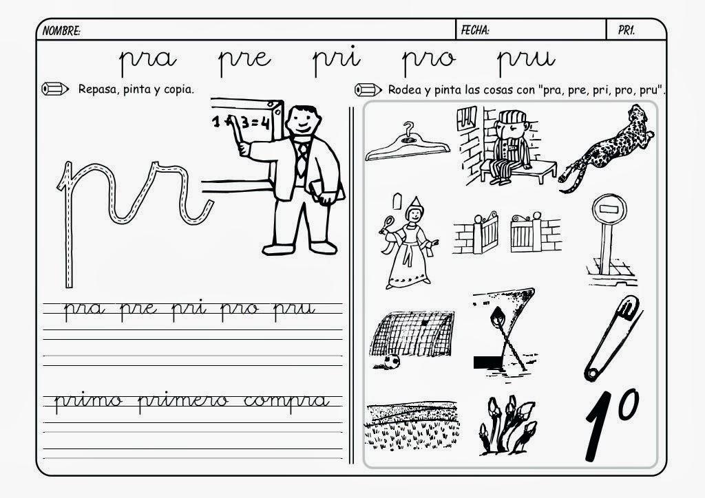 Maestra de Primaria: Fichas de lectoescritura. Grupos consonánticos ...