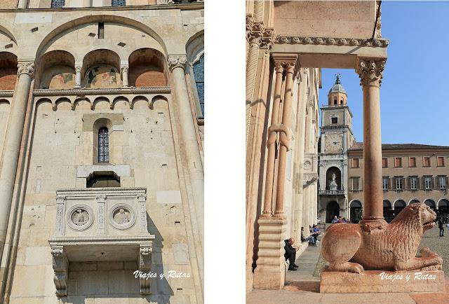 Detalles de la catedral de Módena