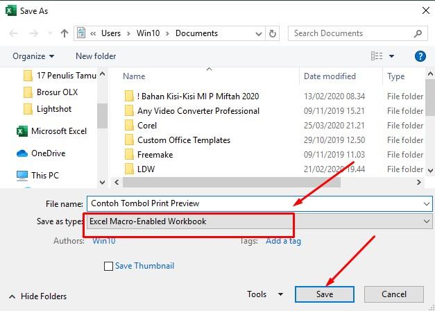 Membuat Tombol Print Preview Di Excel
