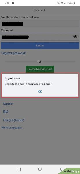 Login failure in fb lite