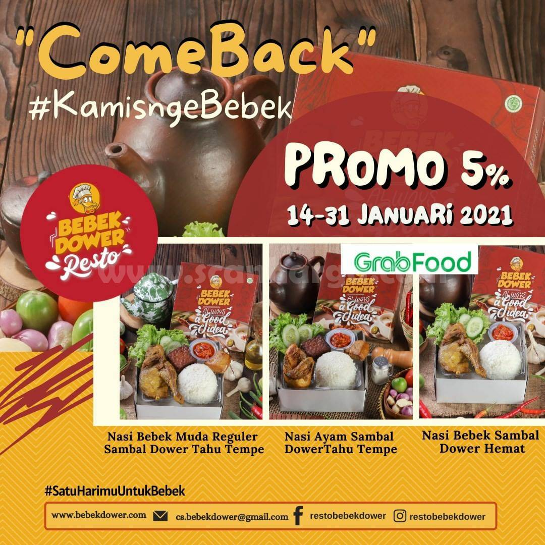 Promo RESTO BEBEK DOWER Diskon 5% via Gofood & Grabfood
