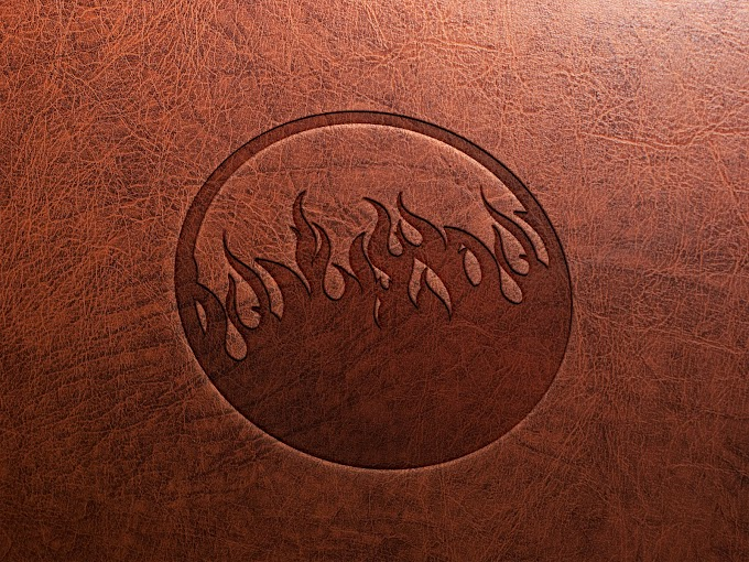 Embossed Leather Stamping Logo Mockup PSD
