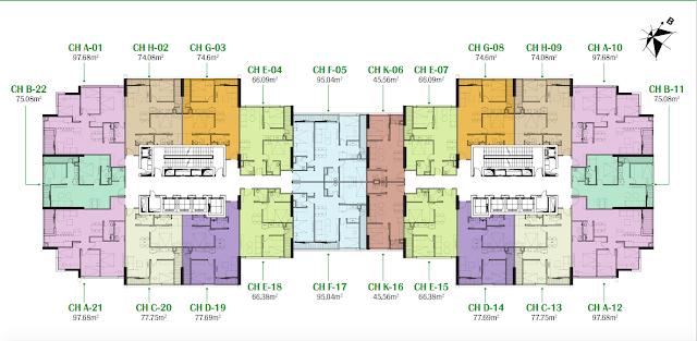 Mặt bằng tầng điển hình chung cư Eco Dream