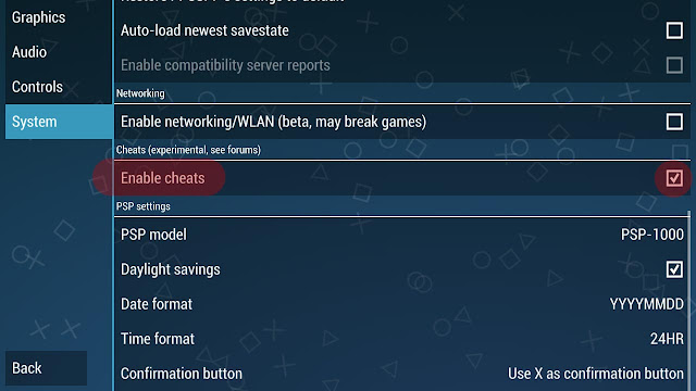 cara cheat game psp android