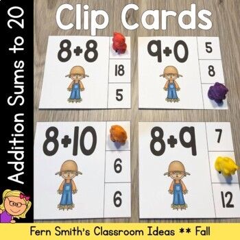 Clip Here to Download this Easy to Prep Scarecrow Themed Addition Sums to 20 Clip Card Math Center for Your Class Today!