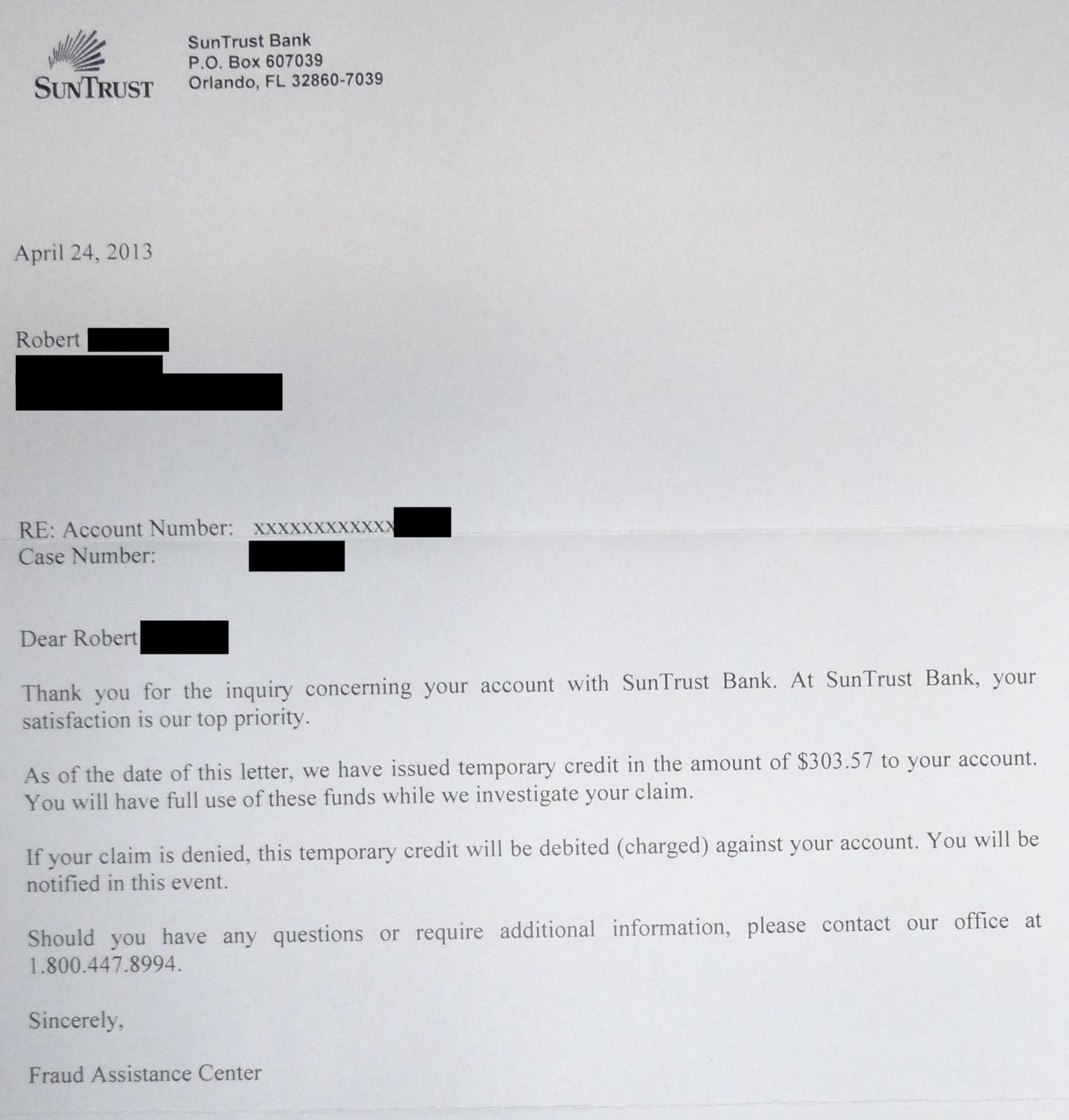 Suntrust Bank Debit Card Fraud