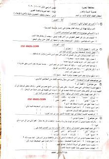 صورة واحد امتحان للغة العربية للثالث الإعدادي الترم الأول 2020 البحيرة
