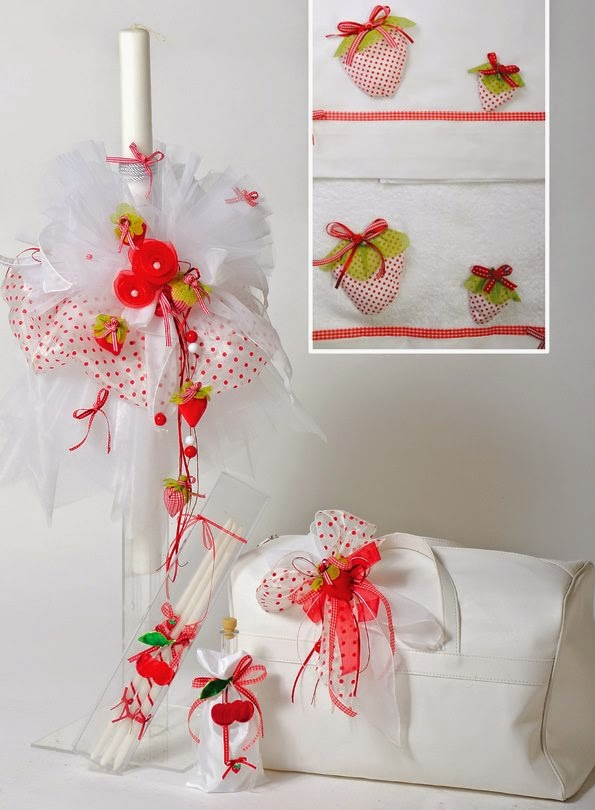 Strawberry themed christening set SKE50