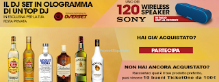 Logo Vinci 120 Speaker Sony e TicketOne da 100 euro