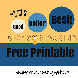 Good Better Best Piano Teaching Activity and Free Printable to teach composing skills