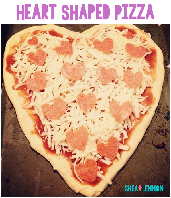 Make your own heart-shaped pizzas (with pepperoni hearts) for a family Valentine's Day dinner!