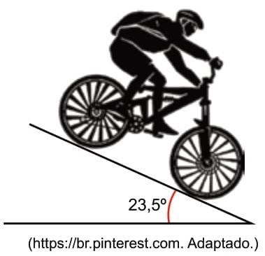 FAMERP 2021: Ao descer uma ladeira plana e inclinada 23,5º em relação à horizontal, um ciclista mantém sua velocidade constante acionando os freios da bicicleta.