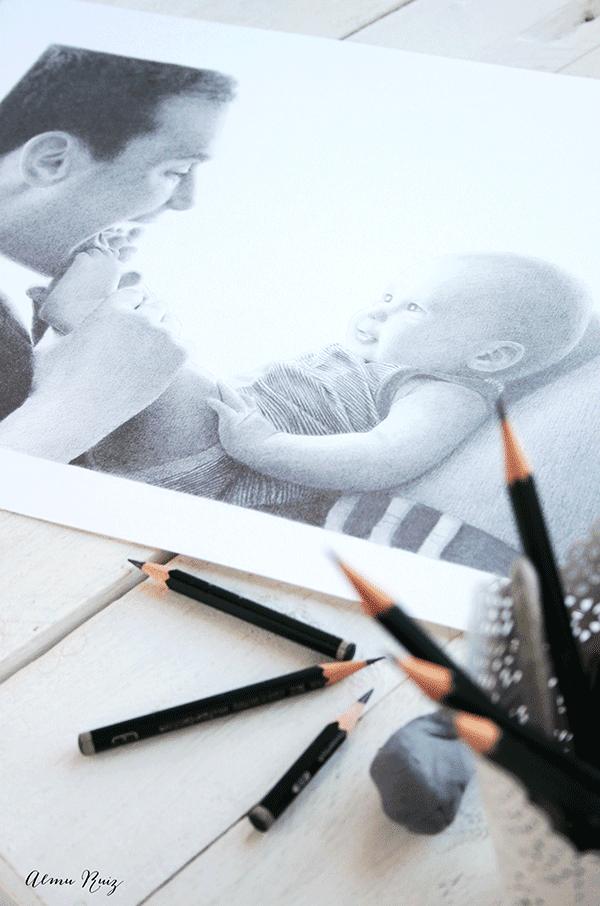 Retrato dibujado de padre e hijo