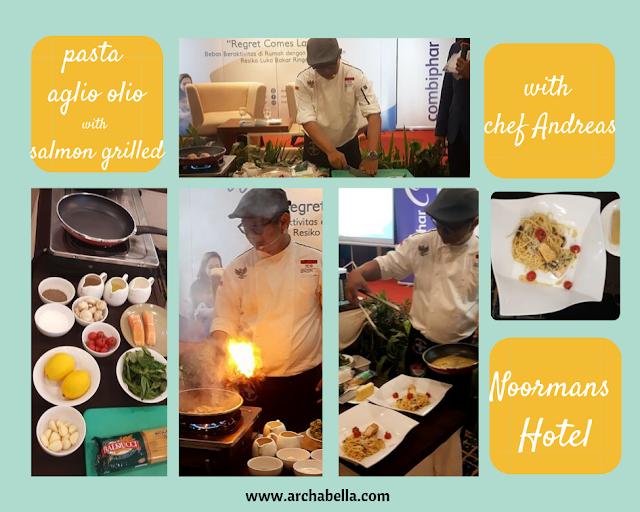 Aksi Chef Andreas dari Noormans Hotel saat berdemo memasak pasta Aglio Olio.