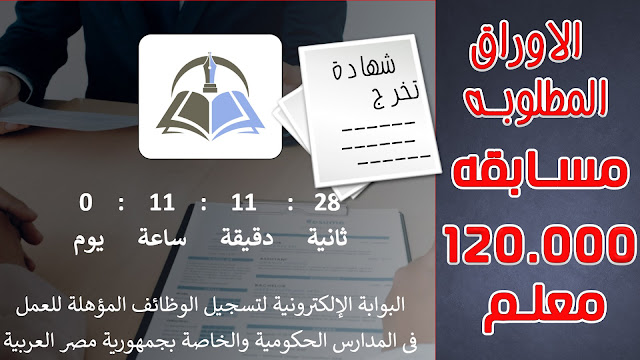 مسابقه 120 الف معلم  | الاوراق المطلوبه حسب اعلان الوزاره | التقديم ساري