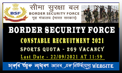 BSF Constable(GD)Recruitment 2021(sports quota) - 269 Vacancy