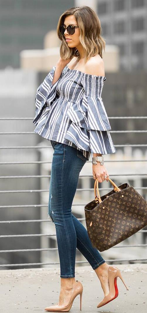 trendy outfit idea / stripped off shoulder blouse + bag + skinnies + nude heels