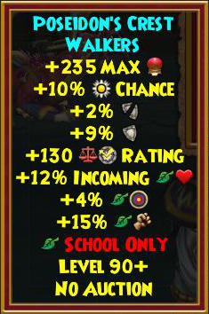 Wizard101 Best Gear - Poseidon Tartarus Gear Drops - Level 90+