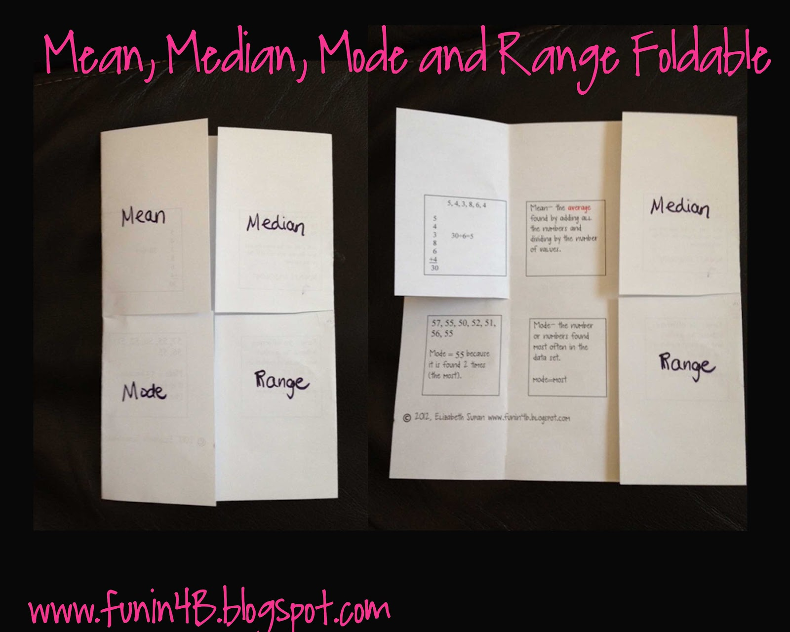 Mean Median Mode And Range Foldable Freebie
