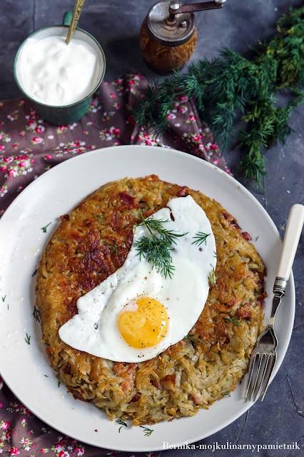 rosti, ziemniaki, placek, placek ziemniaczany, boczek, obiad, bernika, kulinarny pamietnik
