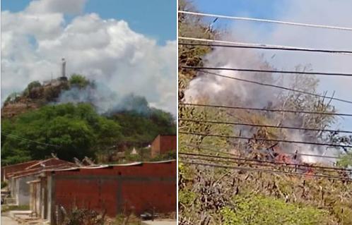 """Em Pão de Açúcar, fogos de artifício  causam foco de incêndio  no """"Morro do Cavalete"""""""