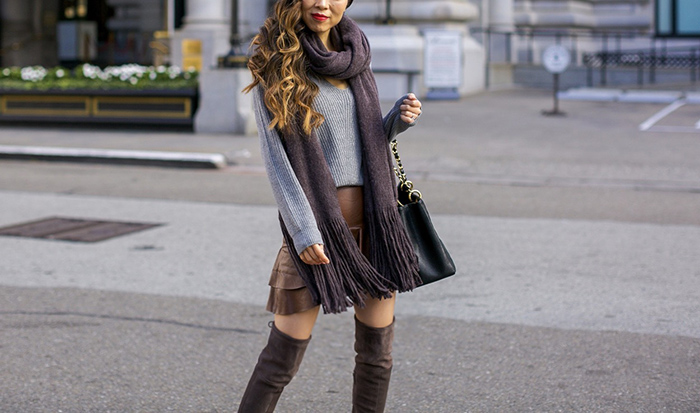 v neck sweater, free people scarf, faux leather ruffle skirt, over the knee boots, chanel grand shopping tote, thanksgiving outfit ideas, fall fashion, san francisco style blog