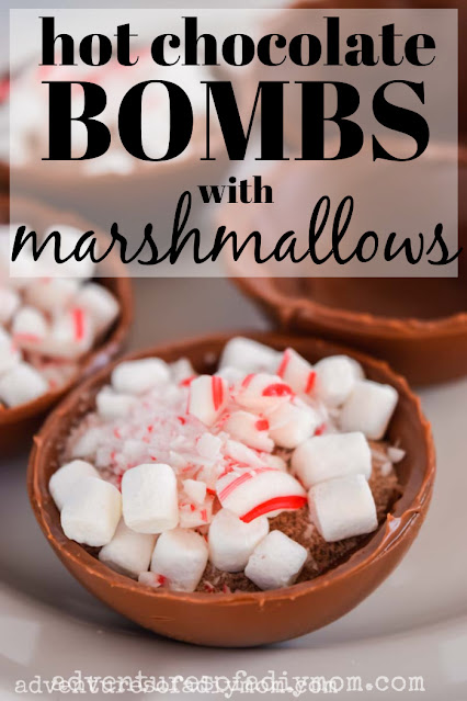 chocolate shells filled with cocoa mix, marshmallows and peppermint