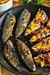 Pan-Fried Mackerel w/ Preserved Lemon 'Harissa' and Beet Orange Salsa