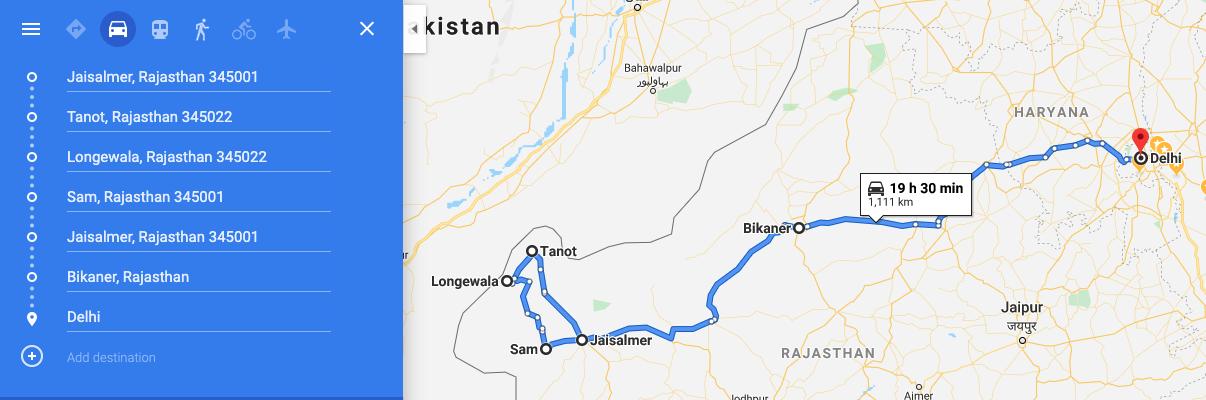 Jaisalmer to Tanot, Sam and Delhi