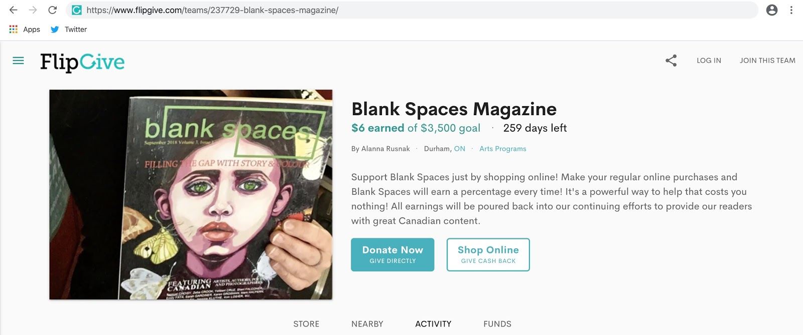 https://www.flipgive.com/teams/237729-blank-spaces-magazine/