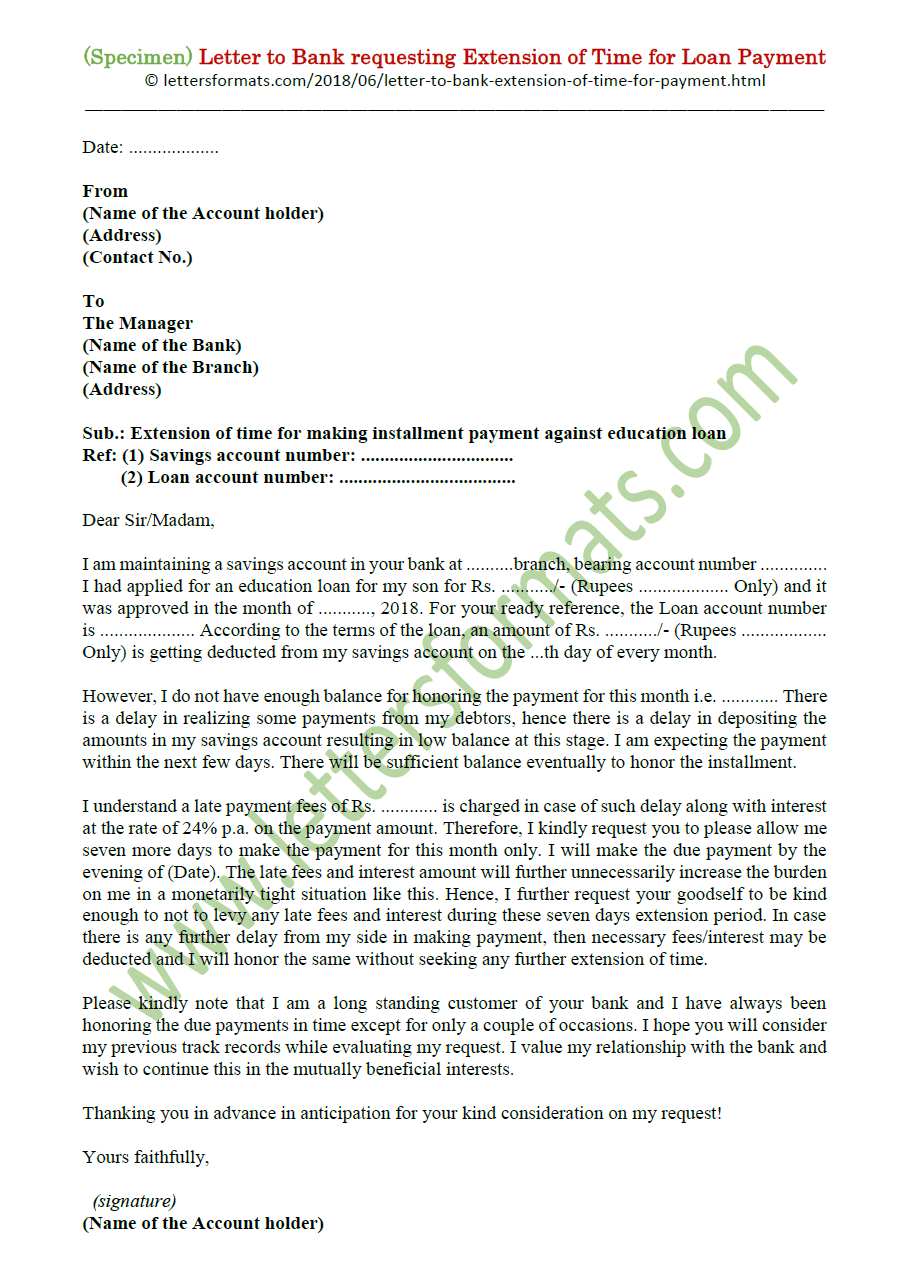 request letter for bank loan extension