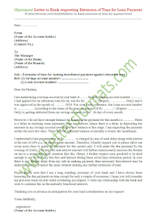 sample letter to bank requesting extension of time for loan payment
