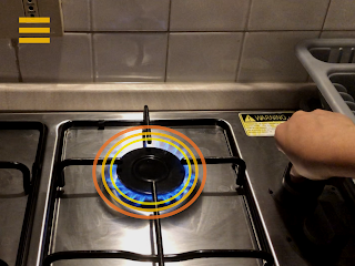 AR調理アシスタントアプリ「ボーノ!Cooking」火力表示