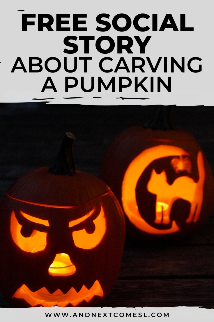 Free printable Halloween social story for kids with autism about carving a pumpkin