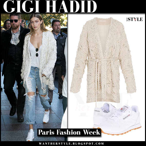 Gigi Hadid in braided pearl jonathan simkhai jacket, ripped jeans and white sneakers reebok what she wore paris fashion week